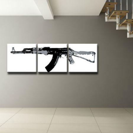Ručne maľovaný POP Art obraz Kalashnikov 3 dielny  ka