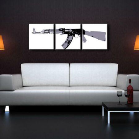 Ručne maľovaný POP Art obraz Kalashnikov 3 dielny  ka1