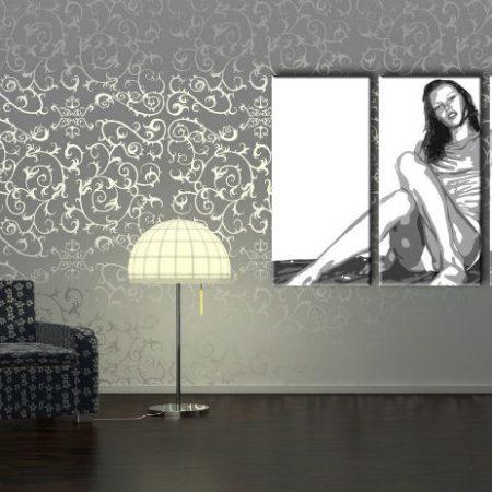 Ručne maľovaný POP Art obraz Kate Moss 3 dielny  km2
