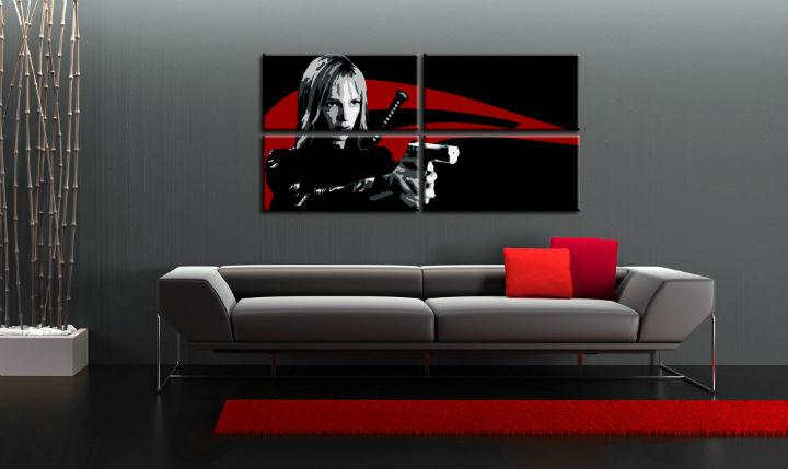 Ručne maľovaný POP Art obraz Kill Bill 4 dielny  kb