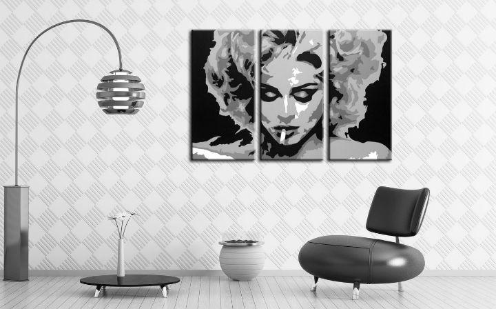 Ručne maľovaný POP Art obraz MADONNA 3 dielny  ma2