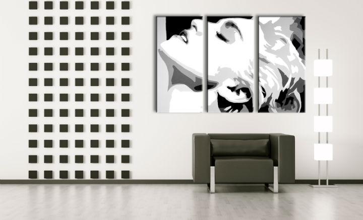 Ručne maľovaný POP Art obraz MADONNA 3 dielny  ma5