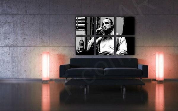 Ručne maľovaný POP Art obraz MARLON BRANDO 6 dielny  mb9