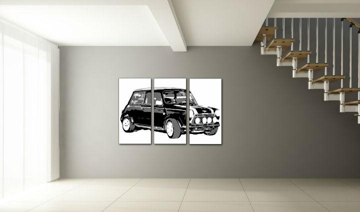 Ručne maľovaný POP Art obraz MINI COOPER 3 dielny  mini