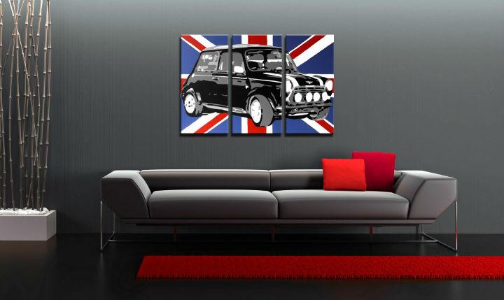 Ručne maľovaný POP Art obraz MINI COOPER 3 dielny  mini2
