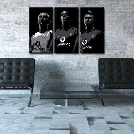 Ručne maľovaný POP Art obraz Manchester United 3 dielny  manu