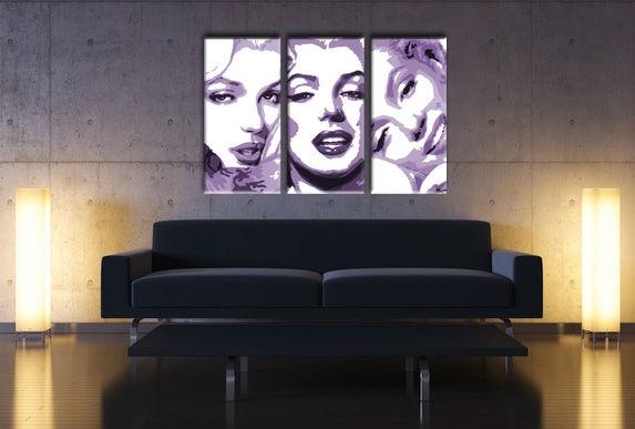 Ručne maľovaný POP Art obraz Marilyn MONROE 3 dielny  mon4