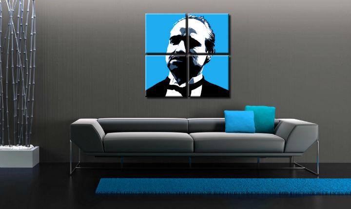 Ručne maľovaný POP Art obraz Marlon Brando 4 dielny  mb4