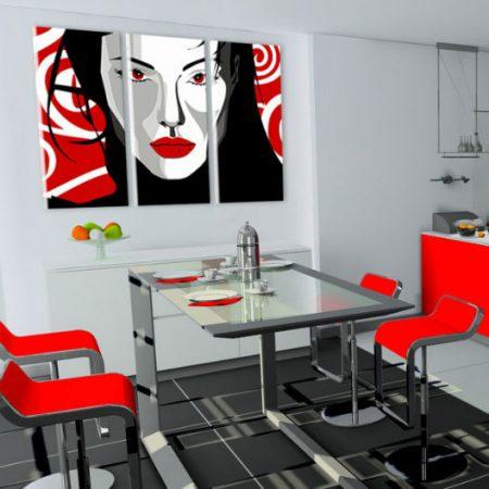 Ručne maľovaný POP Art obraz Nice WOMAN 3 dielny  nwoman