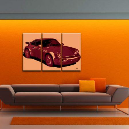 Ručne maľovaný POP Art obraz PORSCHE 911 3 dielny  por