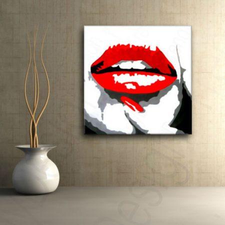 Ručne maľovaný POP Art obraz RED LIPS  mund