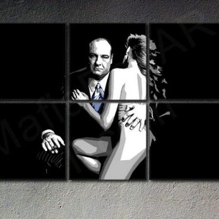 Ručne maľovaný POP Art obraz SOPRANOS 6 dielny  sop2