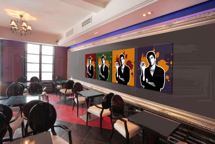 Ručne maľovaný POP Art obraz Scarface - AL PACINO 4 dielny 200x50cm al37