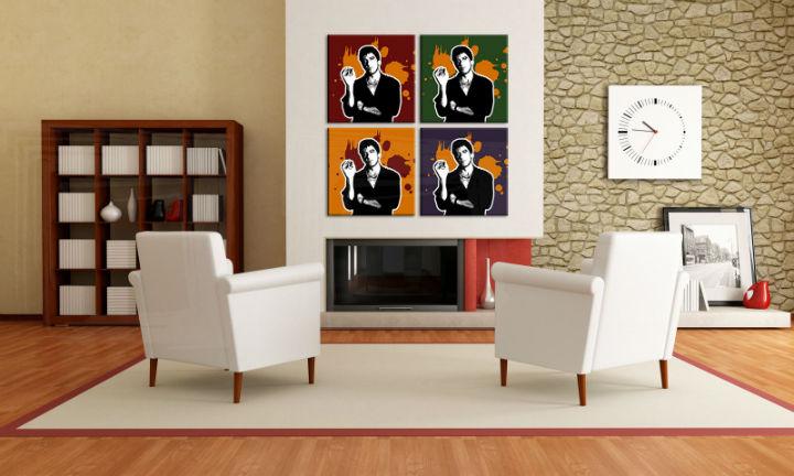 Ručne maľovaný POP Art obraz Scarface - AL PACINO 4 dielny  al36