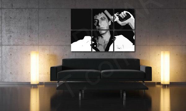 Ručne maľovaný POP Art obraz Scarface - AL PACINO 6 dielny  al38