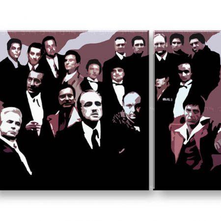 Ručne maľovaný POP Art obraz The Mafia Family  family2