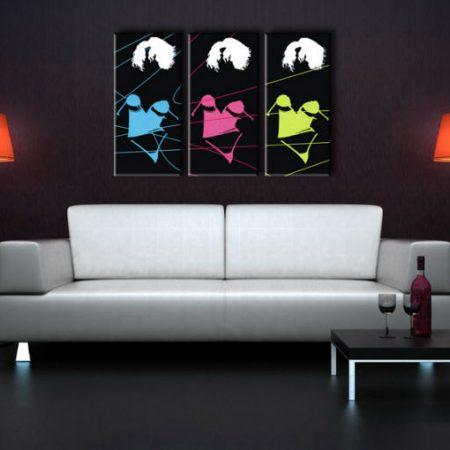 Ručne maľovaný POP Art obraz Three sexy woman 3 dielny  3s