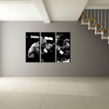 Ručne maľovaný POP Art obraz Tyson vs. Lewis 3 dielny  box