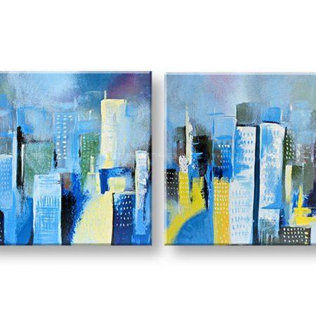 Ručne maľovaný obraz 2 dielny MESTO DA024E2