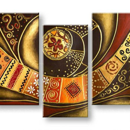 Ručne maľovaný obraz ABSTRAKT 3 dielny NU0031E3