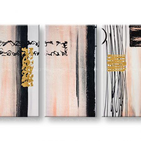 Ručne maľovaný obraz DeLUXE ABSTRAKT – 3 dielny YOB105D3
