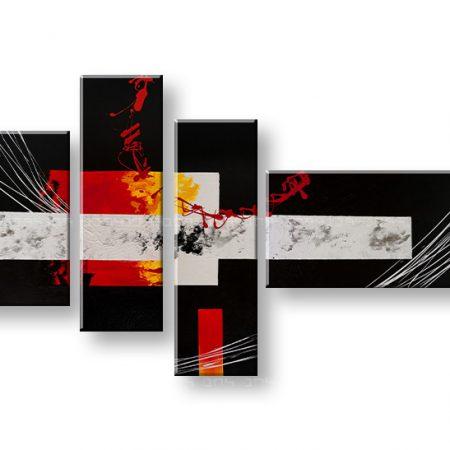 Ručne maľovaný obraz DeLUXE ABSTRAKT – 4 dielny YOB098D4