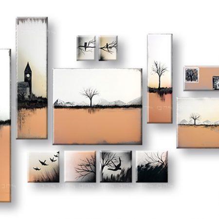 Ručne maľovaný obraz na stenu KRAJINA 12 dielny YOBAM015E12
