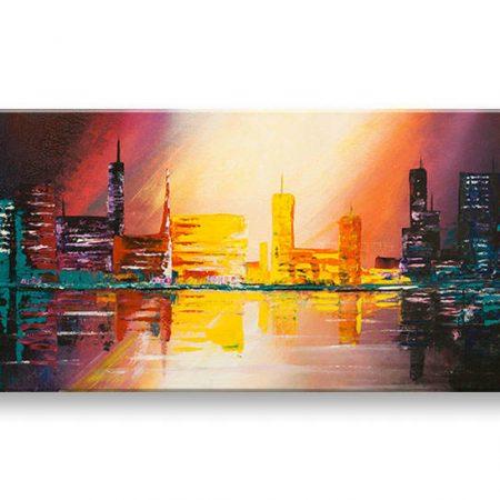 Ručne maľovaný obraz na stenu MESTO YOBFB521E1