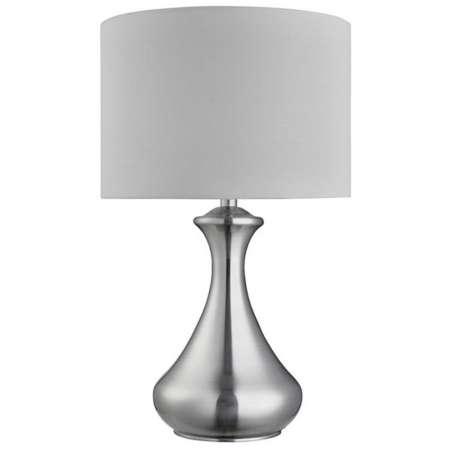 Searchlight Stolná lampa Touch 2750, strieborná, satinovaná