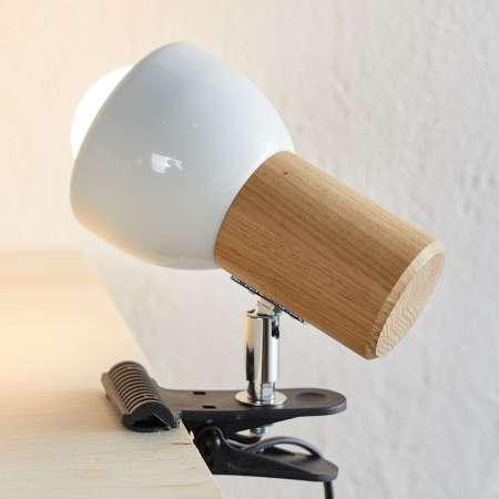 Spot-Light Malá upínacia lampa Clampspots s dubovým drevom