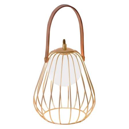 Viokef Stolná lampa Levik so zlatou klietkou
