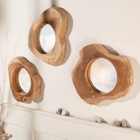 LuxD Dizajnové zrkadlo Shine  teak  x  23354