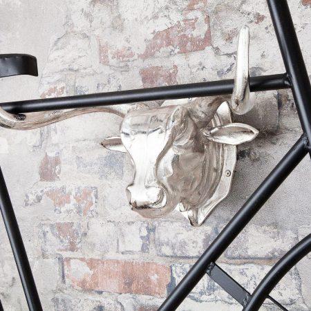 LuxD Nástenná dekorácia Bull 47 cm / strieborná